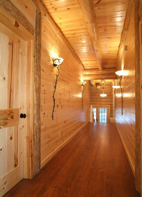 knotty pine walls with double header corners and