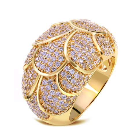 gold plated with cubic zirconia copper rings luxury