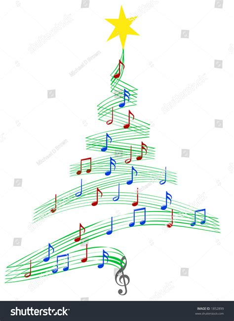 christmas tree musical notes symbolizing christmas stock