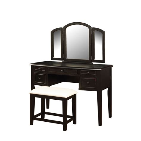 Black Vanity Table Shop Powell Black Makeup Vanity At Lowes