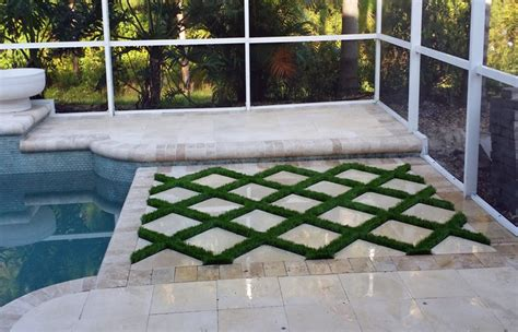 paver patio grass pavers landscape traditional  bench