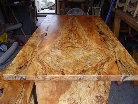 spalted maple table  bench fron    thick slab