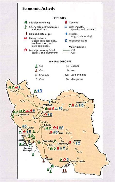 Garnet Mt iran economic activity map iran mappery