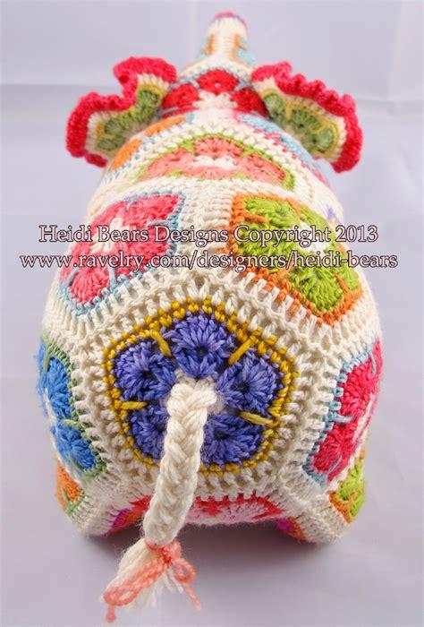free pattern heidi bears heidi bears nellie the elephant african flower crochet
