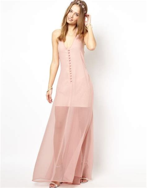 jarlo halter maxi dress with sheer skirt in pink lyst
