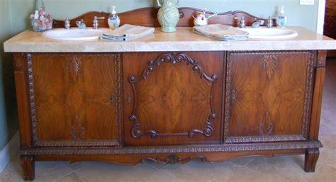 buffet bathroom vanity antique sideboard buffet turned into double sink vanity traditional bathroom