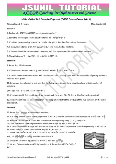 jsunil tutorial questions new maths sa2 sle paper for 2018 board exam class10