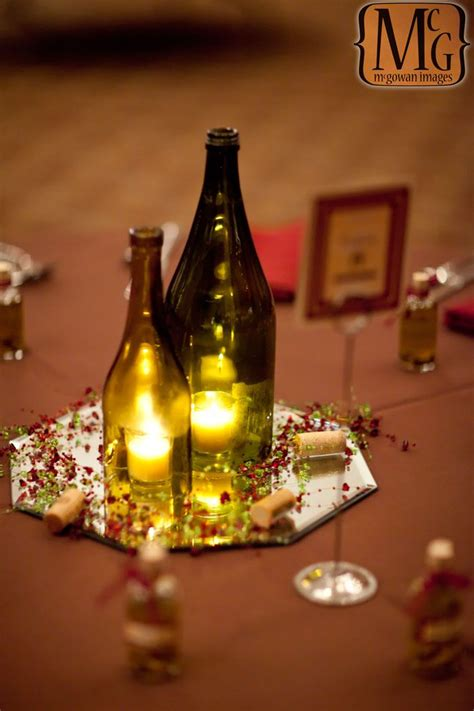 wine bottle centerpiece center piece pinterest
