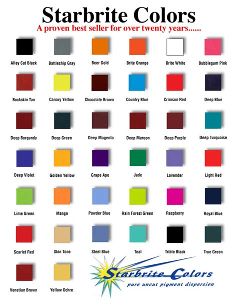ink colors 7 best images of ink color chart screen printing ink