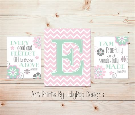 Christian Nursery Decor Nursery Print Set Wall Decor Pink Nursery Christian