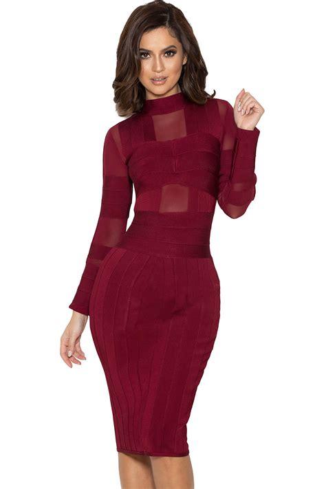 Mesh Dress clothing bandage dresses maiko wine bandage and mesh