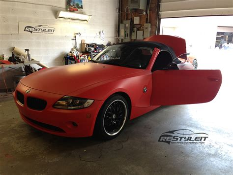 matte red bmw matte red bmw z4 vehicle customization shop vinyl car