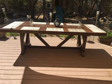 Large Patio Tables Diy Large Outdoor Dining Table Seats 10 12 Hometalk