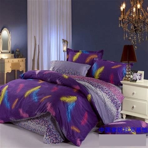 purple blue feather plume comforter bedding set queen