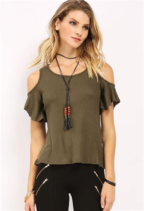 Cut Top cut out shoulder top w necklace shop tops at papaya clothing