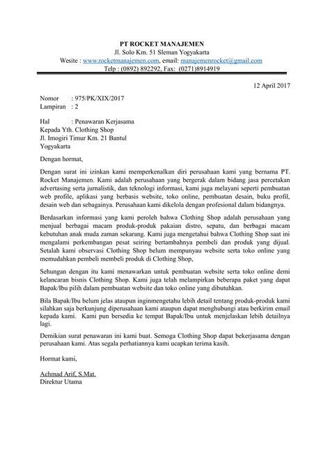 contoh surat penawaran kerjasama yang baik dan benar