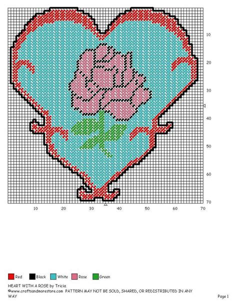 heart pattern for plastic canvas rose in a heart plastic canvas patterns pinterest