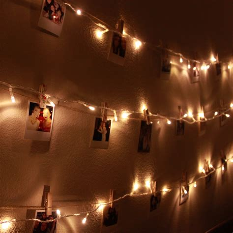 Diy Polaroid Wall With String Lights Simple Stylings Lights On Wall In Bedroom