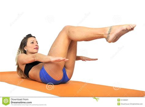 yoga relax tutorial young attractive fit woman at gym doing yoga exercise and