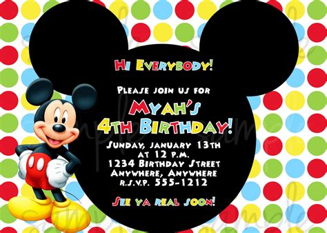 mickey mouse birthday invitation card template free mickey mouse birthday invitations template