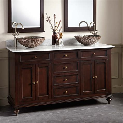bathroom vanities 60 double sink 60 quot keller mahogany double vessel sink vanity dark