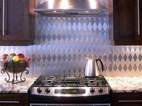 kitchen backsplash stainless steel tiles stainless steel backsplashes hgtv
