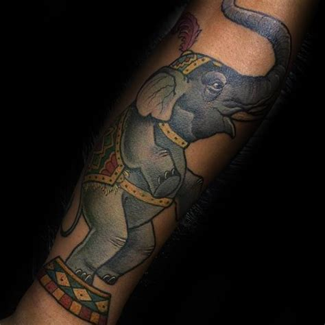 elephant tattoo standing 60 circus tattoos for men entertaining design ideas