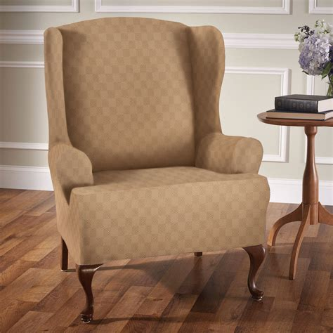 stretch wingback sofa slipcover newport stretch wing chair slipcovers