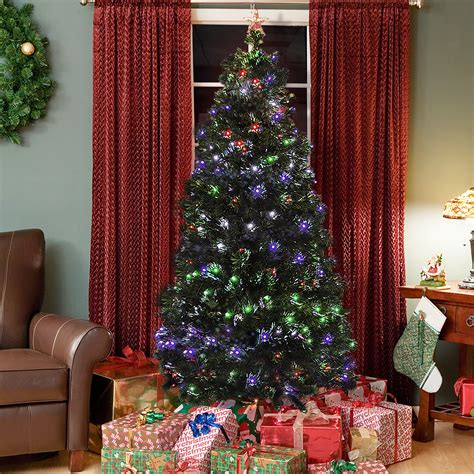 pre lit fiber optic 7 artificial christmas tree led