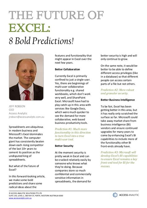 the future is waiting bold predictions about how the future will look like books article the future of excel