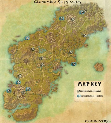 skyshard eso locations map elder scrolls online glenumbra skyshard location guide