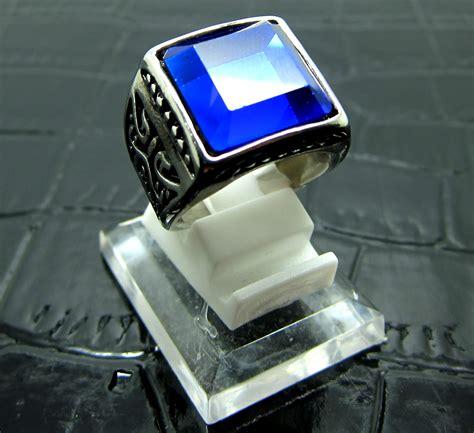 Cincin Pria Silver Titanium Antipudar Original Fashion Import jual cincin titanium import silver pria cowok model persegi biru avanzado shop