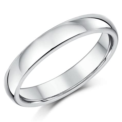 4mm silver 4mm silver heavy weight court shape wedding ring