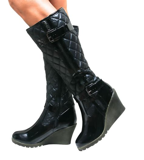 Quilted Wedge Boots by Knee High Wedge Heel Padded Quilted Buckle Biker