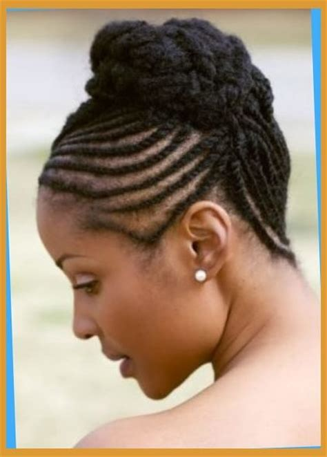 types of updo hairstyles with bangs african amer ponytail braids for african americans hairstylegalleries com