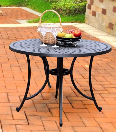 aluminum dining table in charcoal black efurniture mart