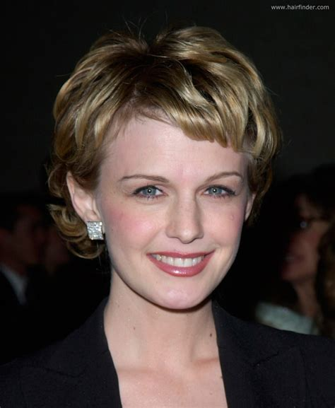 Kathryn Morris wearing her hair short in a trendy pixie style
