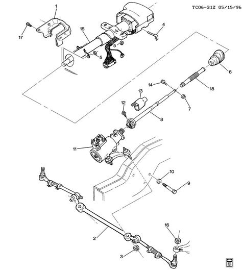 steering parts diagram 1997 chevrolet k3500 ck310 314 steering system related