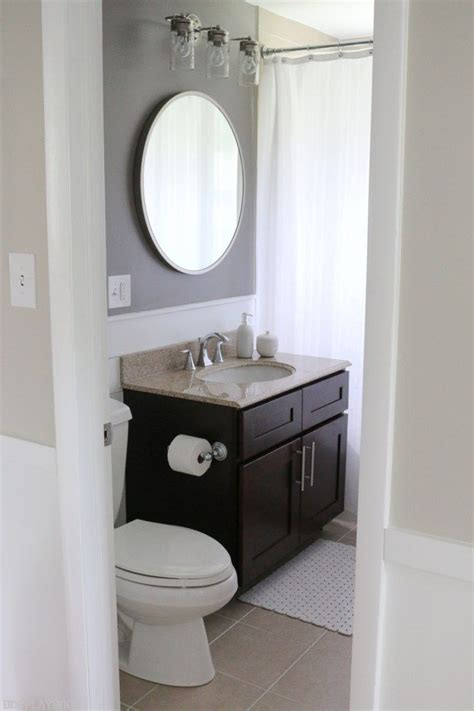 bathroom round mirrors bathroom makeover with bold paint vanity lights dark