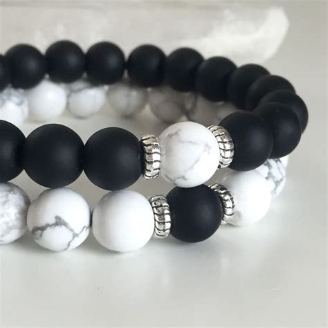 And Bracelet couples bracelets yin yang matte agate white howlite beaded bracelet his and ebay