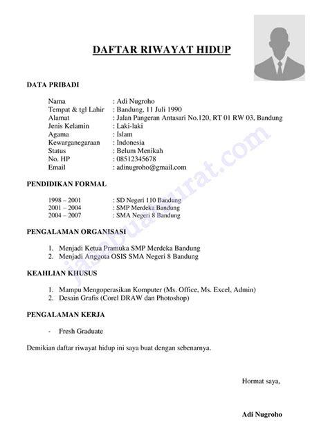Cv Lamaran Kerja 2017 by Kumpulan Contoh Cv Lamaran Kerja Untuk Fresh Graduate