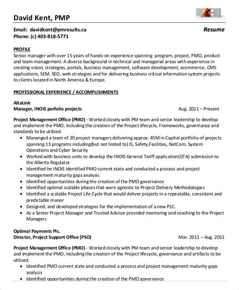 pmp resume format project management resume exle 10 free word pdf