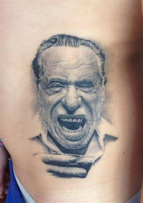 bukowski tattoo black and grey charles bukowski portrait on the