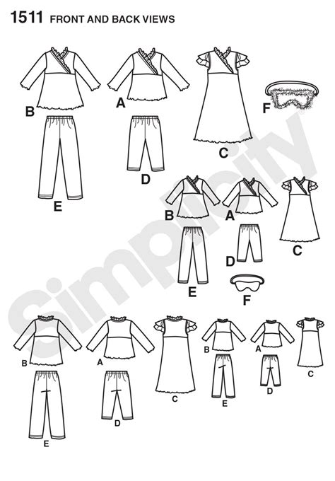 pattern matching dressmaking simplicity 1511 child and 18 quot doll matching loungewear