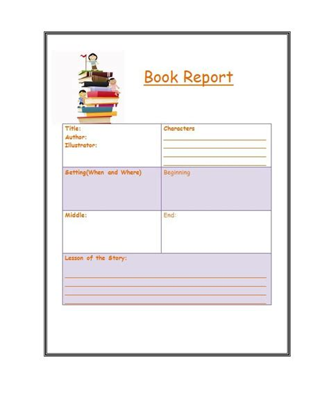 book report template in 30 book report templates reading worksheets