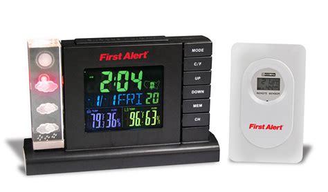 alert radio controlled weather station alarm clock with wireless sensor tvs