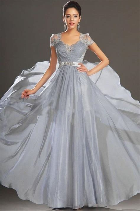 prom and wedding dresses v neck lace chiffon cap sleeve evening gown