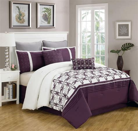 piece queen ellis purple  white bedding comforter set ebay