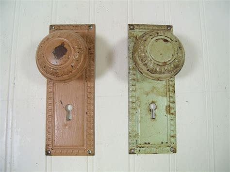 Door Knob Plates Antique by Antique Metal Door Knob Plates Matching Set Of 2 By