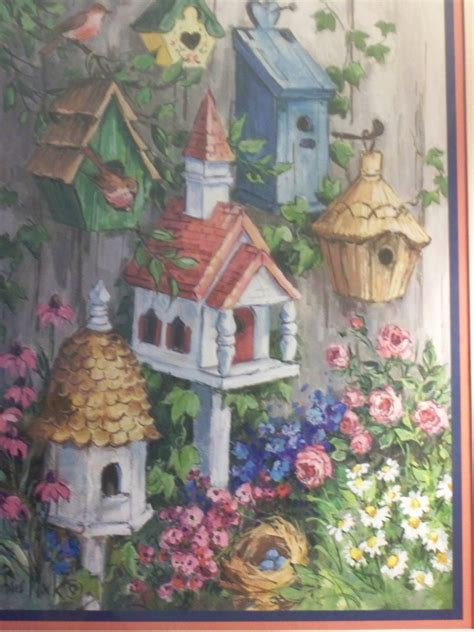 home and interior gifts home interiors gifts wall hanging oak framed picture art birdhouses birds made in usa by artist